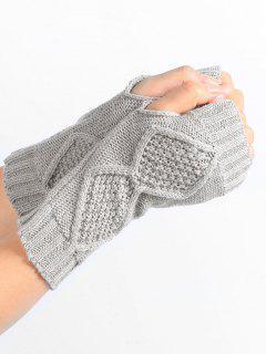 Solid Color Fingerless Gloves - Light Gray