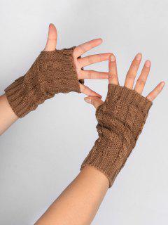 Solid Color Fingerless Ski Gloves - Cinnamon