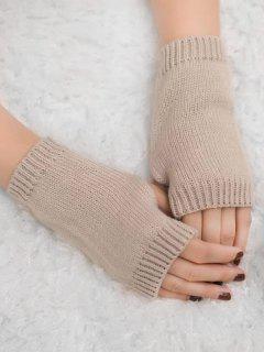 Vintage Fingerless Knitted Gloves - Light Khaki