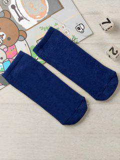 Solid Color Cotton Ankle Socks - Navy Blue