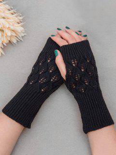 Vintage Hollow Out Fingerless Gloves - Black