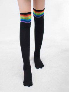Winter Colored Striped Thigh High Socks - Black