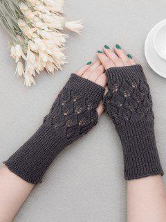 Vintage Hollow Out Fingerless Gloves - Gray