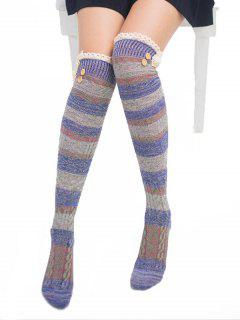 Color Block Lace High Knee Socks - Multi-a