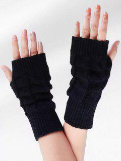 Vintage Plaid Fingerless Gloves - Black