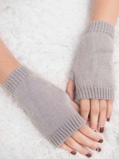 Vintage Fingerless Knitted Gloves - Light Gray