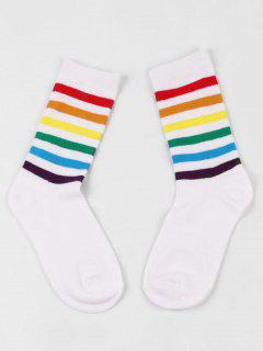 Colored Striped Medium Stockings - White