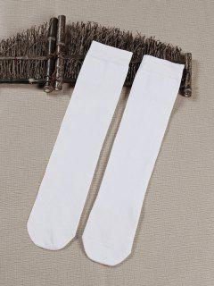 Solid Color Medium Stockings - White