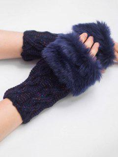 Winter Rhombus Thick Fuzzy Gloves - Cadetblue