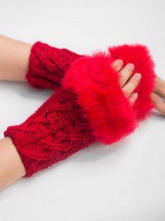 Winter Rhombus Thick Fuzzy Gloves - Cherry Red