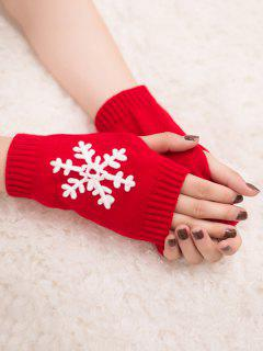 Winter Snowflake Fingerless Gloves - Red