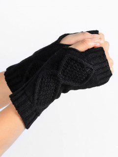 Solid Color Fingerless Gloves - Black