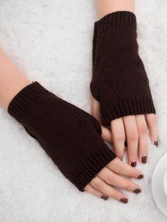 Vintage Fingerless Knitted Gloves - Coffee