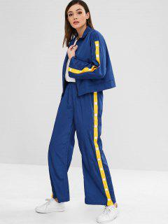 ZAFUL Sports Zip Jacket And Pants Set - Deep Blue S
