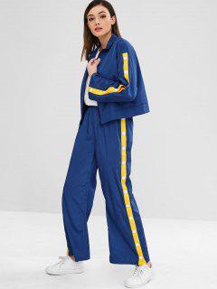 ZAFUL Sports Zip Jacket And Pants Set - Deep Blue Xl