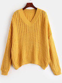 Suéter De Gran Tamaño Con Cuello En V ZAFUL - Amarillo Brillante