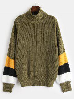 ZAFUL High Neck Stripes Pullover - Armeegrün