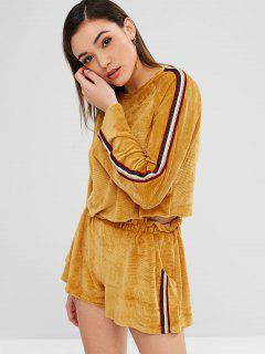ZAFUL Cord Sweatshirt Und Shorts Co Ord Set - Senf L
