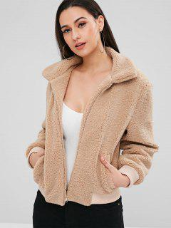 ZAFUL Fluffy Faux Shearling Winter Coat - Camel Brown S
