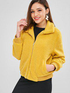 ZAFUL Fluffy Faux Shearling Winter Coat - Mustard L