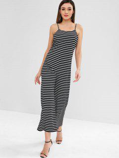 ZAFUL Open Back Stripes Wide Leg Jumpsuit - Black L