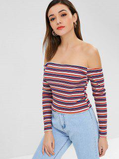 ZAFUL Schulterfrei Gestreifte Crop Strickwaren - Multi L