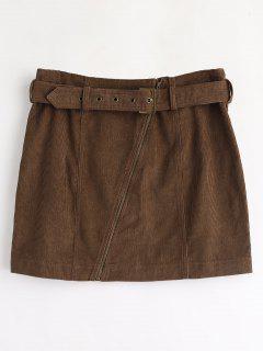 ZAFUL Corduroy Zip Faux Belt Skirt - Deep Brown L