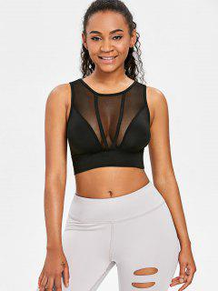 Mesh Panel Crop Sports Tank Top - Black L