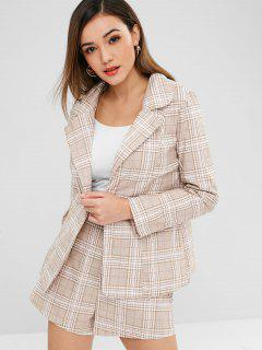 ZAFUL One Button Plaid Blazer And Shorts Set - Light Khaki M
