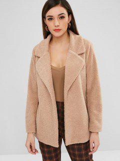 ZAFUL Lapel Faux Shearling Winter Coat - Camel Brown L