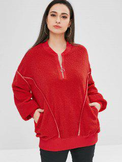 ZAFUL Oversized Fluffy Borg Pullover Sweatshirt - Red Xl