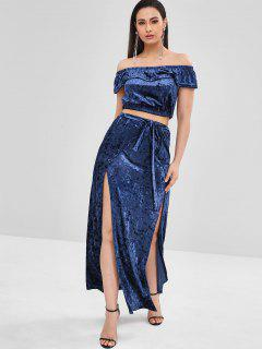 ZAFUL Velvet Crop Top And Slit Skirt Set - Midnight Blue L