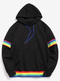 ZAFUL Rainbow Striped Pocket Hoodie - Black L