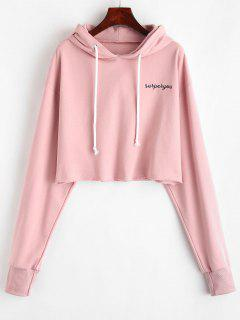 ZAFUL Letter Embroidered Crop Hoodie - Light Pink S