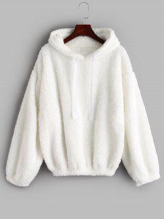 Drop Shoulders Faux Shearling Hoodie - White