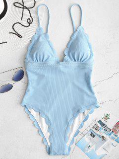 ZAFUL Ribbed Scalloped Backless Swimsuit - Light Sky Blue S