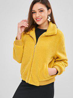 ZAFUL Fluffy Faux Shearling Winter Coat - Mustard L