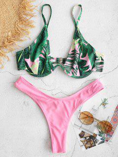Bügel-Bikini-Set Mit Blattmuster - Pink L