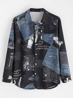 Retro Newspaper Print Button Up Shirt - Black M