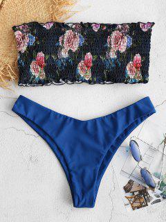 ZAFUL Floral Smocked Bandeau Bikini Set - Ocean Blue M