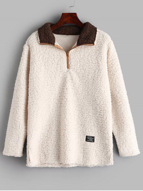 Sweat-shirt en Fausse Laine à Demi-Zip - Blanc Chaud XL Mobile