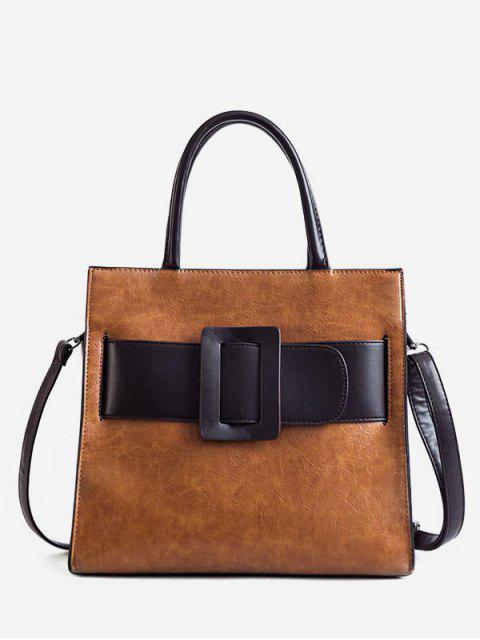 fancy Vintage Buckle Color Block Handbag - BROWN  Mobile