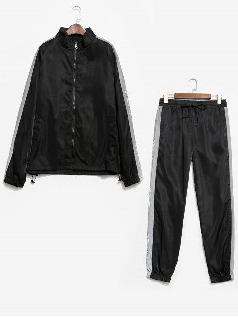 Veste Lettre Imprimée à Manches Raglan et Pantalon - Noir M Mobile