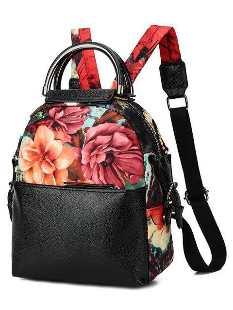 ladies Flower Print Top Handle Backpack - BLACK  Mobile