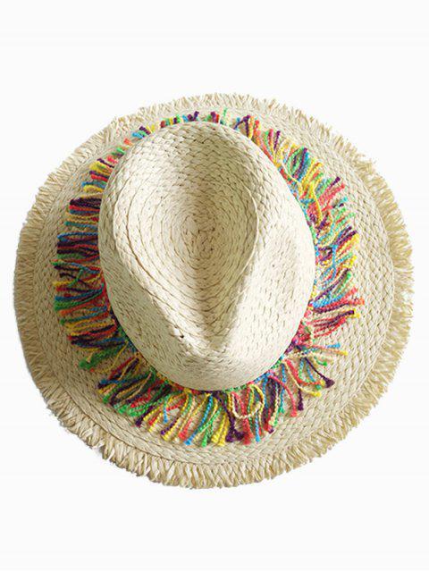 buy Stylish Wide Brim Fringed Straw Sun Hat - BEIGE  Mobile
