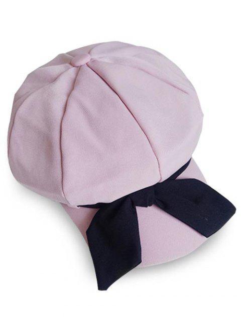 Béret Élégant Grand en Couleur Unie avec Nœud Papillon - Rose Rosé  Mobile