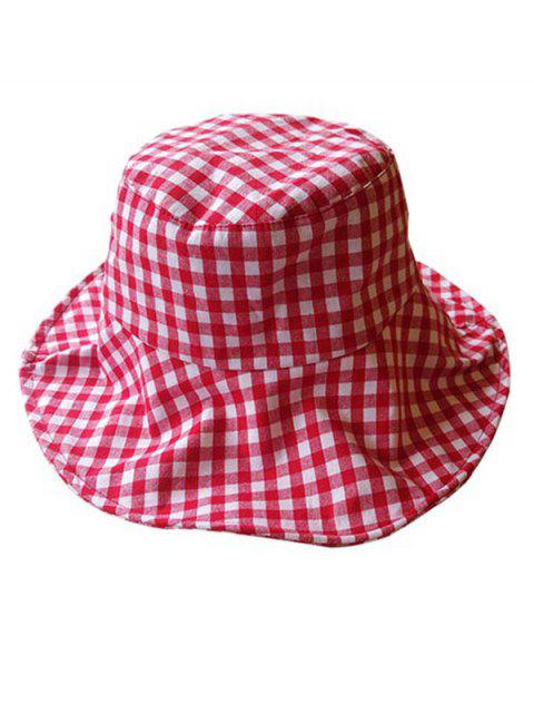 unique Outdoor Plaid Printed Sunscreen Hat - LAVA RED  Mobile