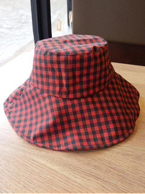 affordable Outdoor Plaid Printed Sunscreen Hat - RED WINE  Mobile