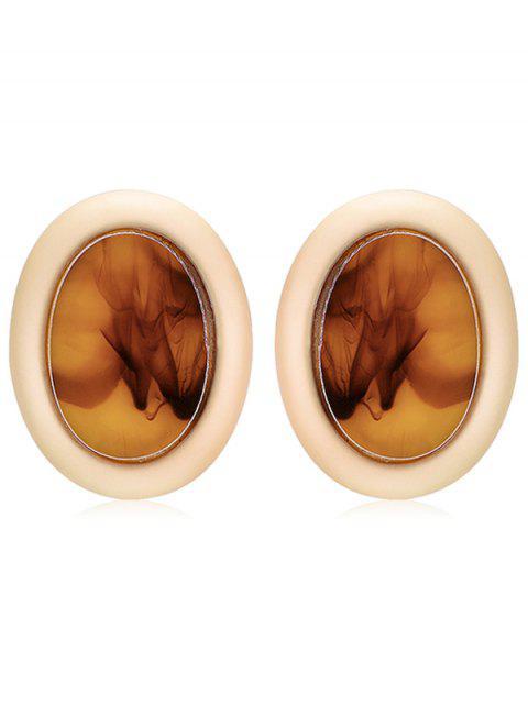 shops Oval Design Fog Print Stud Earrings - LIGHT BROWN  Mobile