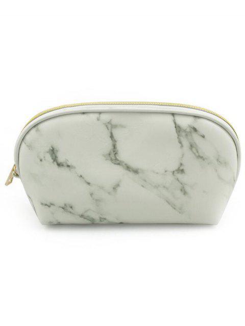 Trousse de Maquillage Zippée Portable Motif de Marbre - Blanc  Mobile